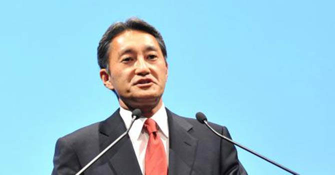 Sony's new chief Kazuo Hirai speaks during a press hearing. - Photo by AFP