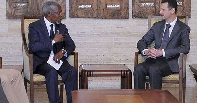 Syria's President Bashar al-Assad (R) meets with UN-Arab League envoy Kofi Annan in Damascus.—Reuters Photo
