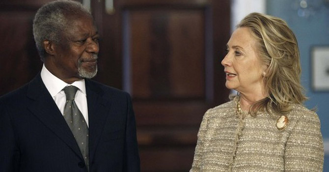 United States Secretary of State Hillary Clinton (R) and Arab League Joint Special Envoy for Syria Kofi Annan.—Reuters Photo
