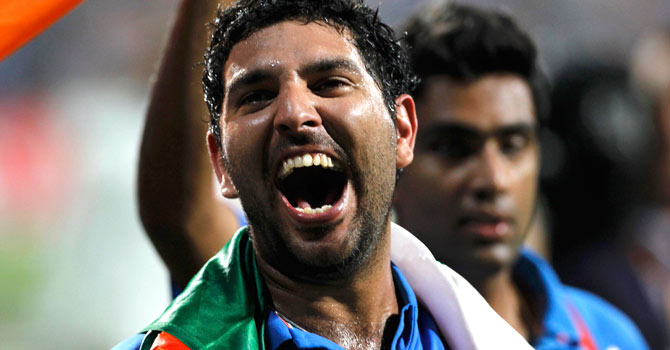 Yuvraj Singh played a key role in India's 50-over World Cup triumph last year. — File photo by Reuters