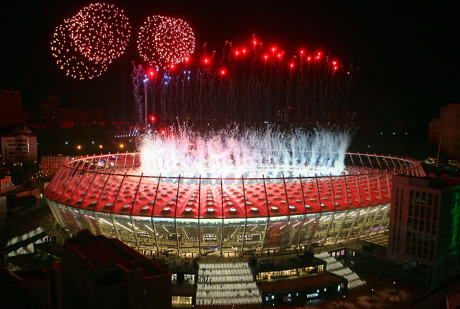 Fireworks explode in the sky over the Olympic stadium after the Euro 2012 final match between Spain and Italy. ? Photo by Reuters