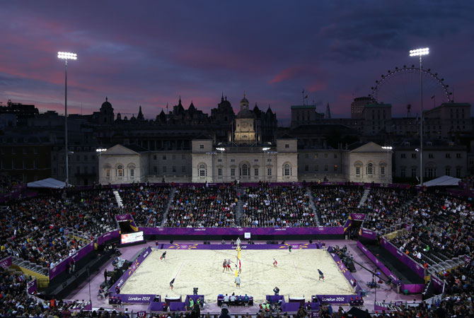 General view during of the Beach Volleyball venue at the 2012 Summer Olympics, Monday, July 30, 2012, in London. ? Photo by AP