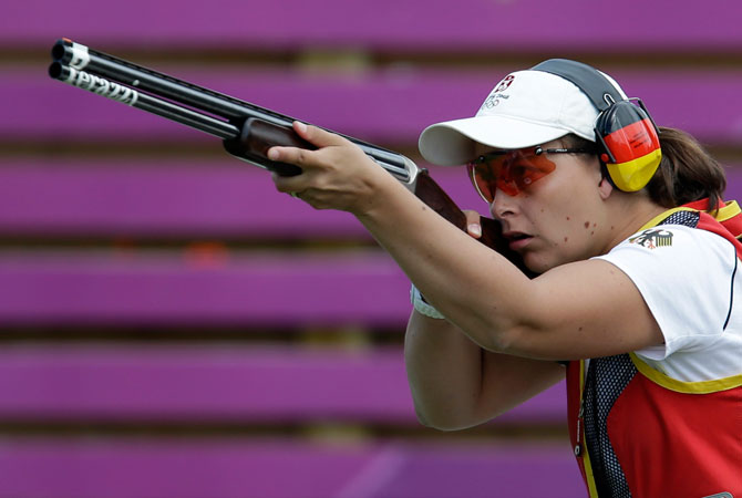Germany's Christine Wenzel shoots during the women's skeet final at the 2012 Summer Olympics, Sunday, July 29, 2012, in London. ? Photo by AP