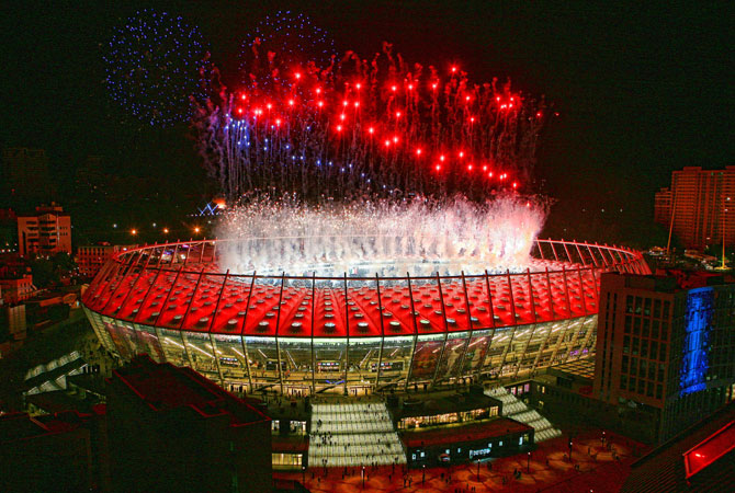 Fireworks explode above the Olympic stadium after the Euro 2012. ? Photo by Reuters
