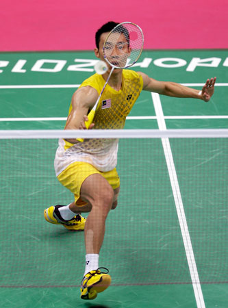 Malaysia's Lee Chong Wei plays against Finland's Ville Lang in a men's singles badminton match at the 2012 Summer Olympics, Monday, July 30, 2012, in London. ? Photo by AP