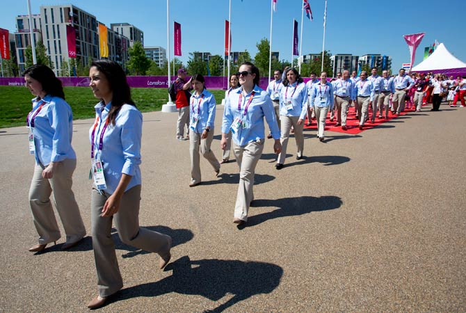 Members of Chile's Olympic squad arrive in the Olympic Village in London July 24, 2012. Photo by Reuters