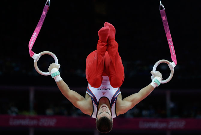 U.S. gymnast Jacob Dalton performs on the rings during the Artistic Gymnastic men's team final at the 2012 Summer Olympics, Monday, July 30, 2012, in London. ? Photo by AP