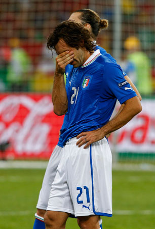 Italy's Andrea Pirlo reacts after losing their Euro 2012. ? Photo by Reuters