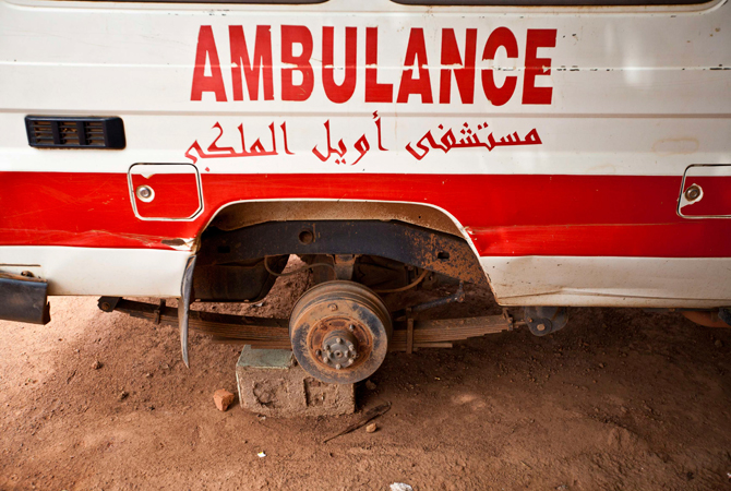 A detail of one of a few broken ambulances at the Aweil State Hospital, the only hospital in the South Sudanese state of Northern Bahr el Ghazal June. As in many developing nations, international aid is both an invaluable help to South Sudan and a crutch that sometimes enables it to avoid reality. – Photo by Reuters