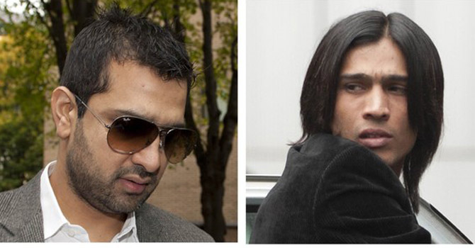 Mohammad Amir (bottom R) and agent Mazhar Majeed arriving for their sentencing at Southwark Crown court in London.—Reuters Photo