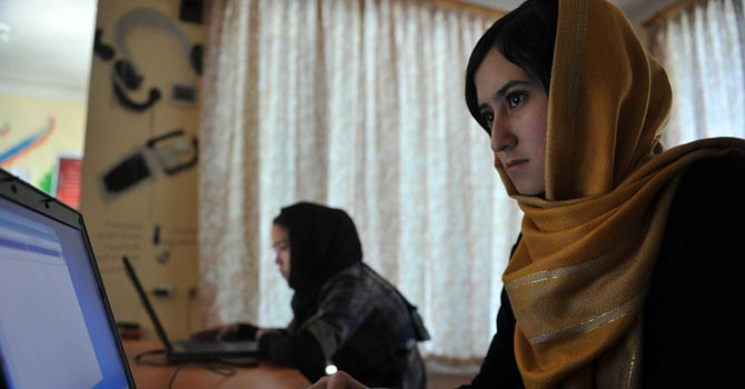 Afghan women use computers at the Young Women for Change internet cafe, Afghanistan's first women-only net cafe, in Kabul.—AFP Photo