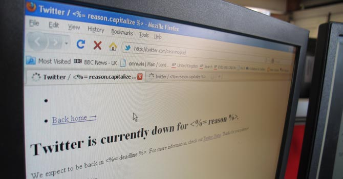 An image of a screen displaying the micro-blogging site Twitter in London. — AP Photo