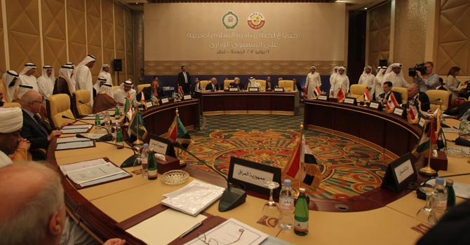 A General view at the Arab Peace Initiative Committee Meeting in Doha Sunday July 22, 2012. (AP Photo/Osama Faisal)