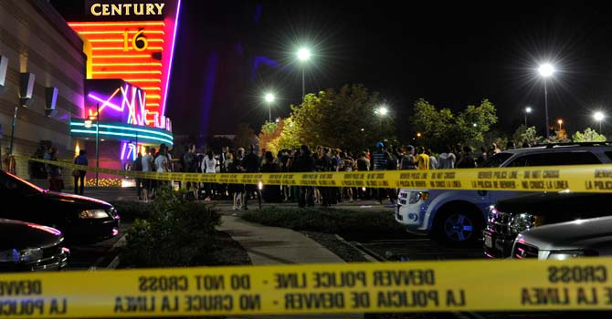 The picture shows a scene from the Colorado theatre shooting in July 2012. - File Photo