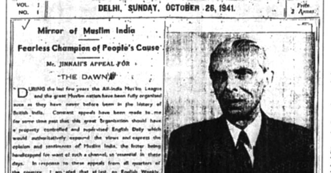 The DAWN front page from its first edition in 1941. – Copyright Dawn Media Group