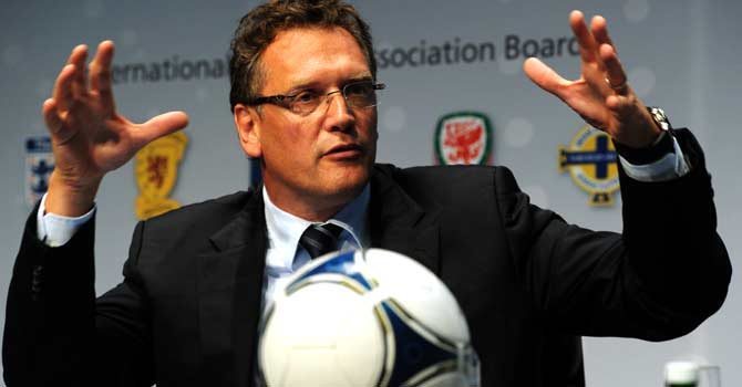 Fifa Secretary General Jerome Valcke gestures during a press conference after a meeting of the International Football Association Board (IFAB) on July 5, 2012 in Zurich. Goal-line technology, additional assistant referees and the wearing of headscarves by female players were three of the main topics discussed at the Ifab Special Meeting. – Photo by AP