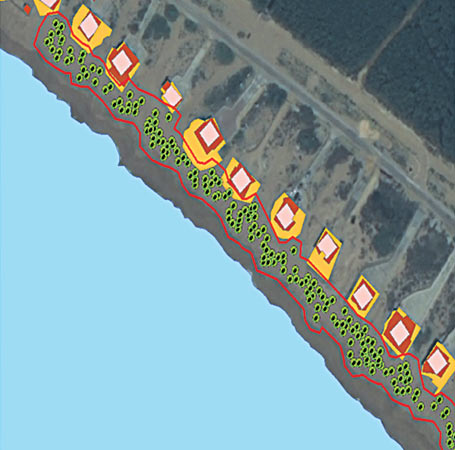 This image shows the turtle nesting area (marked by a red boundary) encroached by beach huts (highlighted in brown and yellow colours). – Dawn