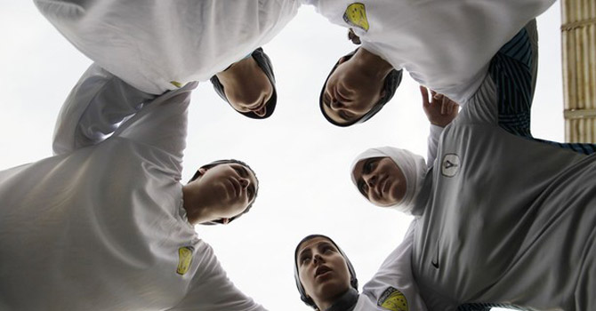 Members of a Saudi female soccer team.—AP Photo