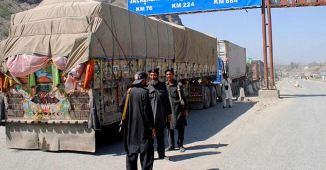 Trucks transporting Nato supplies. — File Photo