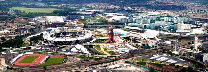 An aerial view of the Olympic Village, Shopping Centre and the Orbit Tower (observation platform). – Photo courtesy London2012 Media Centre