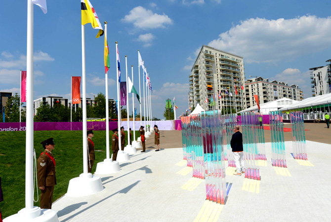 Pakistan's flag is raised at the Olympic village in London.