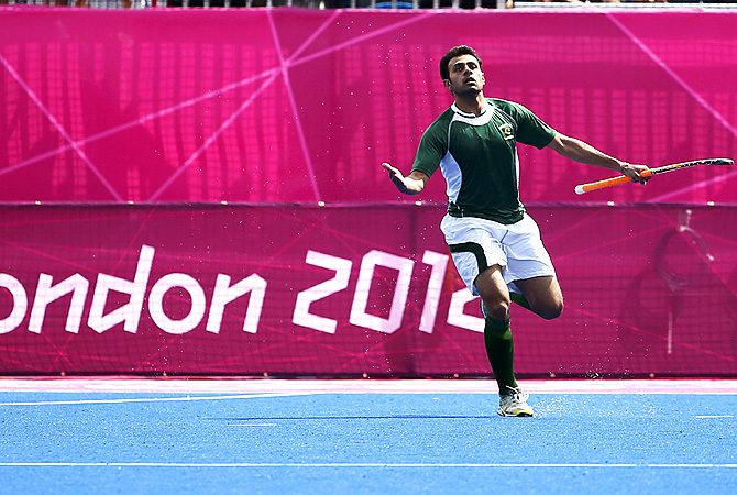 Pakistan's Rehan Butt celebrates his goal. -Photo by Reuters