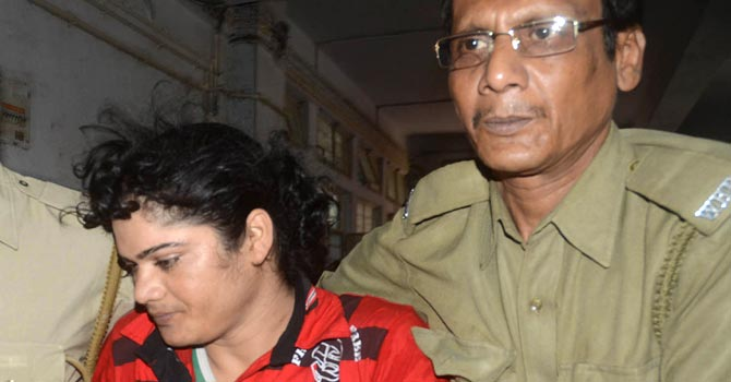 Pinki Pramanik, who was arrested on June 14, has alleged her former live-in lover brought rape charges against her after the athlete refused to give her 300,000 rupees. – Photo by AFP