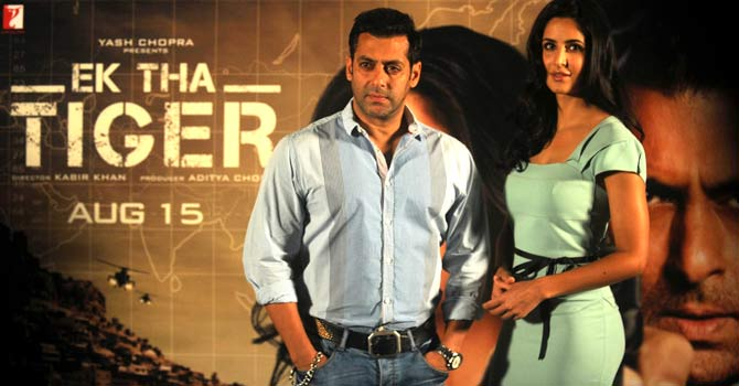 "Salman Khan and Katrina Kaif attend a promotional event for their forthcoming film ""Ek Tha Tiger"" in Mumbai. – Photo by AFP"