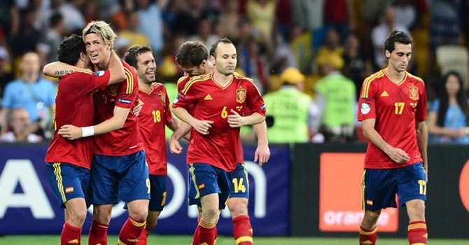Spain retained their top ranking following their Euro 2012 championship win. – Photo by AFP