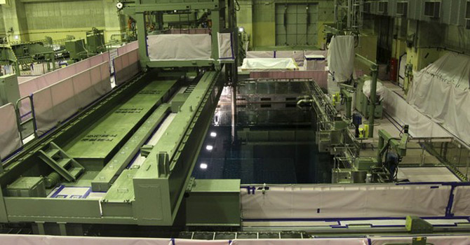The spent fuel storage pool of the No 4 reactor at the Fukushima Dai-ni nuclear power station.—AP Photo