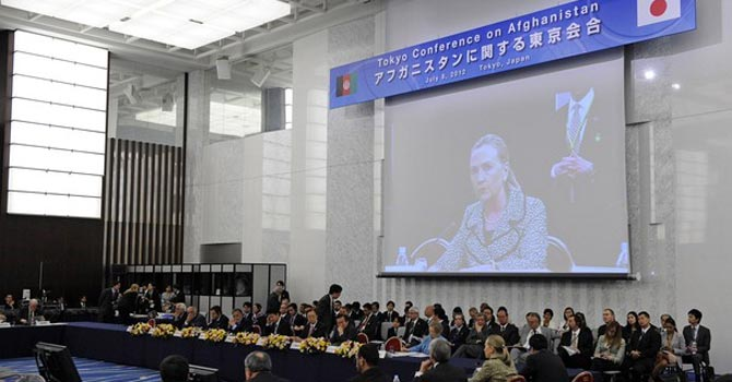 US Secretary of State Hillary Rodham Clinton delivers a speech during the Tokyo Conference on Afghanistan. — AP Photo