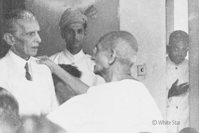 Quaid-e-Azam Muhammad Ali Jinnah meeting Mahatma Gandhi. — Photo by White Star