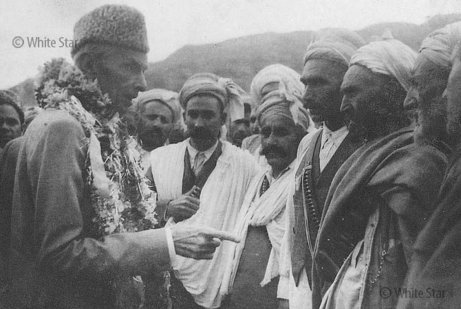 Quaid-e-Azam Muhammad Ali Jinnah meeting people. — Photo by White Star