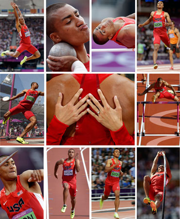 This combination of eleven photos shows in the center frame, United States' Ashton Eaton being embraced by his fiancee Brianne Theisen after winning gold in the decathlon following the 1500-meter race during the athletics in the Olympic Stadium at the 2012 Summer Olympics, London, Thursday, Aug. 9, 2012. The other ten frames show Eaton competing in the ten disciplines that comprise the decathlon event over two days, Wednesday to Thursday, Aug. 8-9, at the London Olympics - from top left, clockwise: the long jump, s