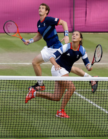 Laura Robson, right, and Andy Murray, of Great Britain, play a mixed doubles match against Lucie Hradecka and Radek Stepanek of the Czech Republic at the All England Lawn Tennis Club at Wimbledon, in London, at the 2012 Summer Olympics, Thursday, Aug. 2, 2012. ? Photo by AP