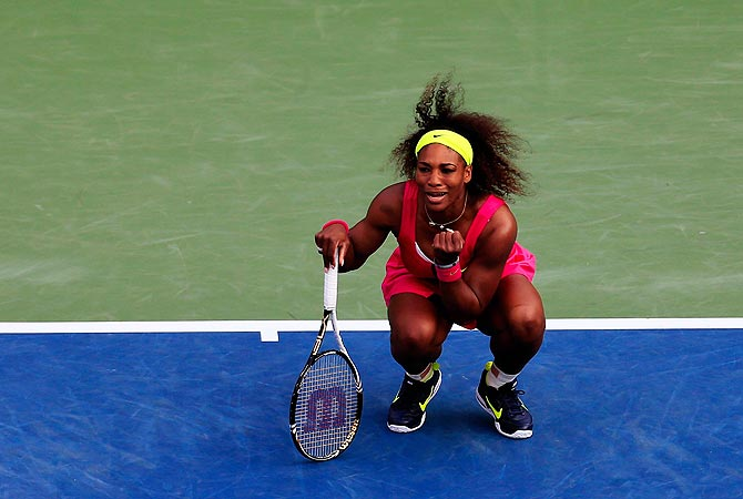 Serena Williams of the United States reacts against Maria Jose Martinez Sanchez. -Photo by AFP