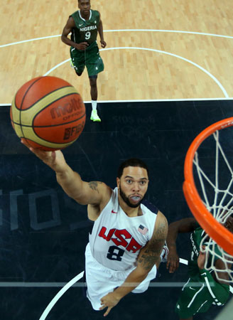 Deron Williams (8) of the United States shoots against Nigeria during a men's basketball preliminary round match at the 2012 Summer Olympics on Thursday, Aug. 2, 2012, in London. ? Photo by AP