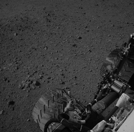 Curiosity's tires during its first test drive as seen by Navcam. A little more than two weeks after its arrival on Mars, the $2.5 billion rover, which landed on Mars on August 6, has performed a battery of tests and appears ready to embark on its two-year mission to explore the Red Planet in the hunt for signs of life.