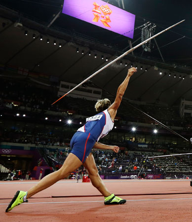 Czech Republic's Barbora Spotakova takes a throw in the women's javelin throw final to win gold during the athletics in the Olympic Stadium at the 2012 Summer Olympics, London, Thursday, Aug. 9, 2012.