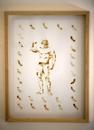 A piece of art by Fernando de la Rocque depicting former California Gov. Arnold Schwarzenegger.