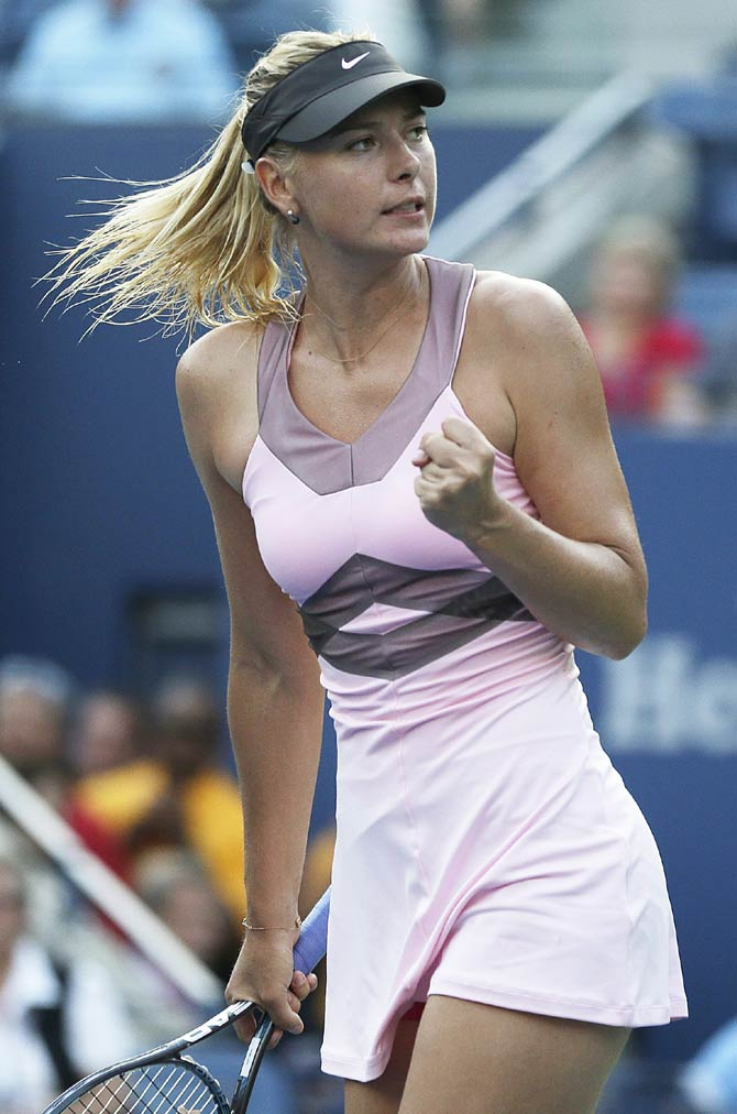Maria Sharapova, of Russia, reacts during her match with Melinda Czink of Hungary.