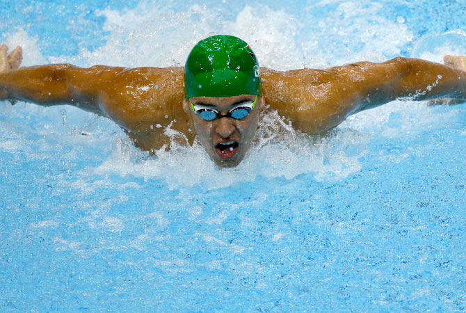 South Africa's Chad le Clos men's competes in the men's100-meter butterfly swimming semifinal at the Aquatics Centre in the Olympic Park during the 2012 Summer Olympics in London, Thursday, Aug. 2, 2012. ? Photo by AP