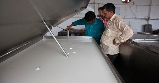 A farmer inspects the quality of milk in an industrial refrigerator at a farm in Narowal. — Reuters Photo