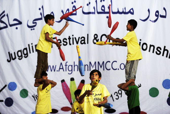 Afghan jugglers perform during the Championships.