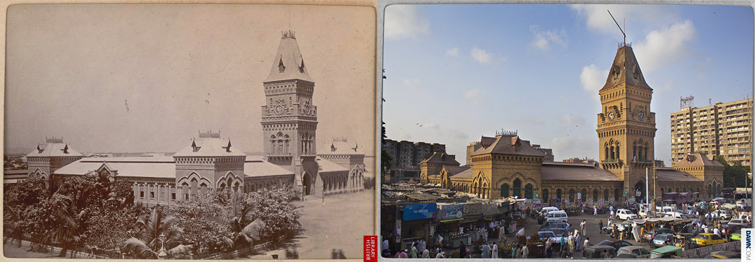 [Click on images to enlarge]  The Empress Market ? Constructed between 1884 and 1889, the Empress Market is one of the busiest and renowned historical structures of Karachi that traces its origins from the British raj era. The name commemorates the Empress of India, Queen Victoria.  Planned by James Strachan, the foundations were concluded by the English firm of A.J. Attfield, and the structure was constructed by the local firm of ?Mahoomed Niwan and Dulloo Khejoo?. Once a glorious structure and celebrated shop