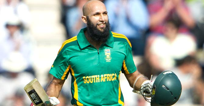 Hashim Amla celebrates after scoring his tenth ODI century in the second ODI against England in Southampton. – Photo by AP