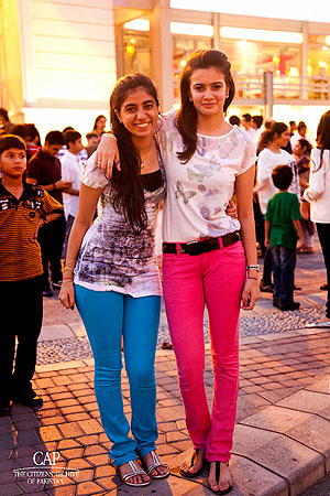 Two very funky sisters who participated in the flash mob at Port Grand.
