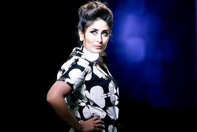 Bollywood actress Kareena Kapoor displays a creation by Kallol Datta.