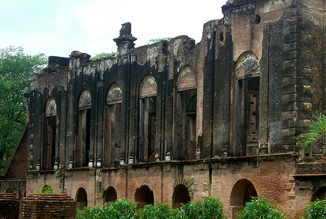 The ruins of the Lucknow Residency. Built for the British by the Nawabs in the year 1800, the Residency was the centre for British activity in Lucknow. During the Mutiny of 1857, this building fell siege and the walls of the structure bear scars until today.