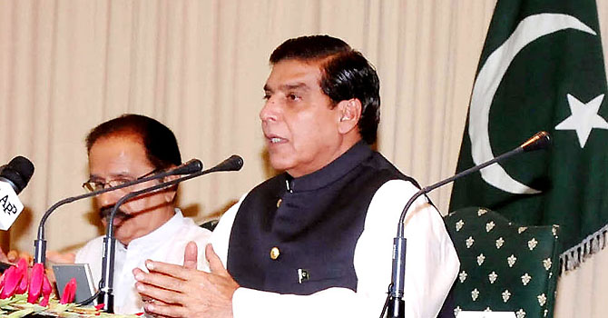 Prime Minister Raja Pervez Ashraf chairing the PPP parliamentary party meeting at Prime Minister's House. INP PHOTO